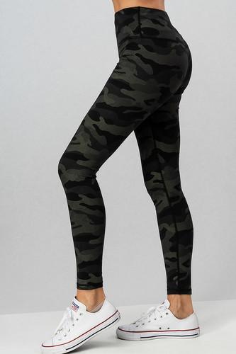 Camo Print Leggings: Black/Olive