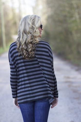 Piko Long Sleeve Striped Top: Black/Gray