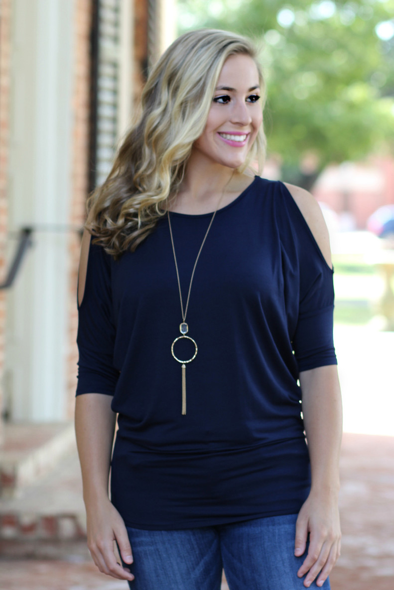In The Moment Dolman Top: Navy