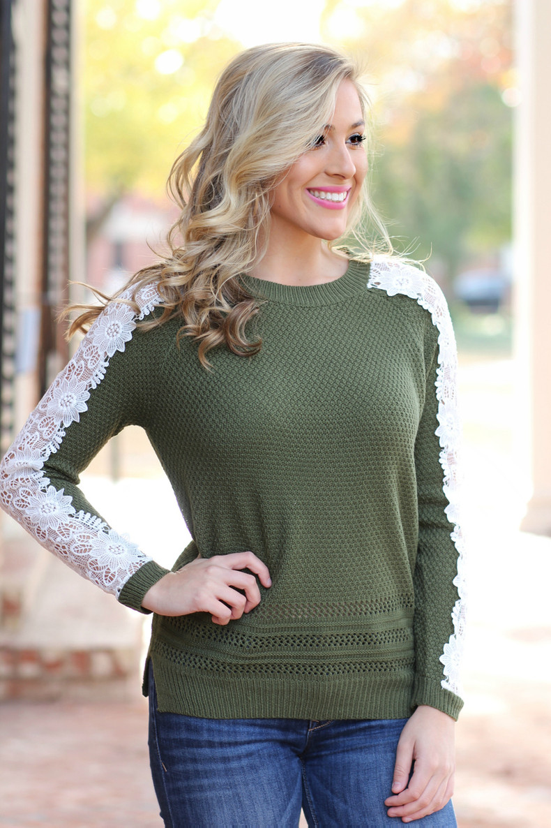 Love Of Lace Sweater: Olive