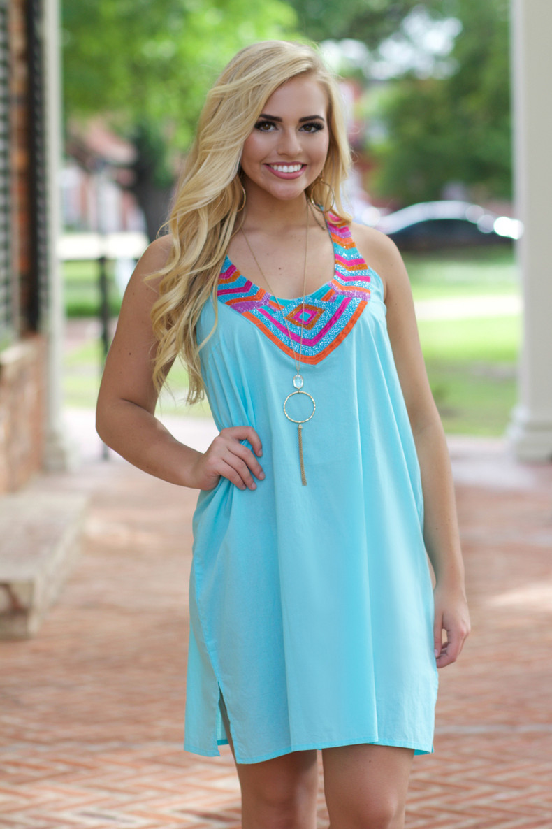 Caribbean Resort Dress: Aqua