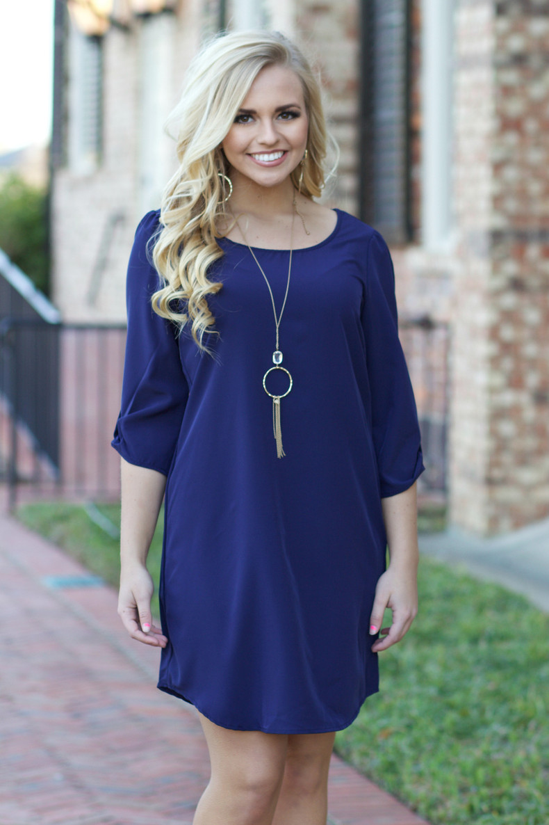 Shift Dress: Navy