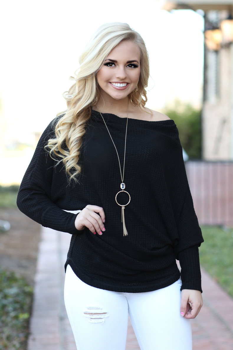 Give Me Cozy Off The Shoulder Top: Black