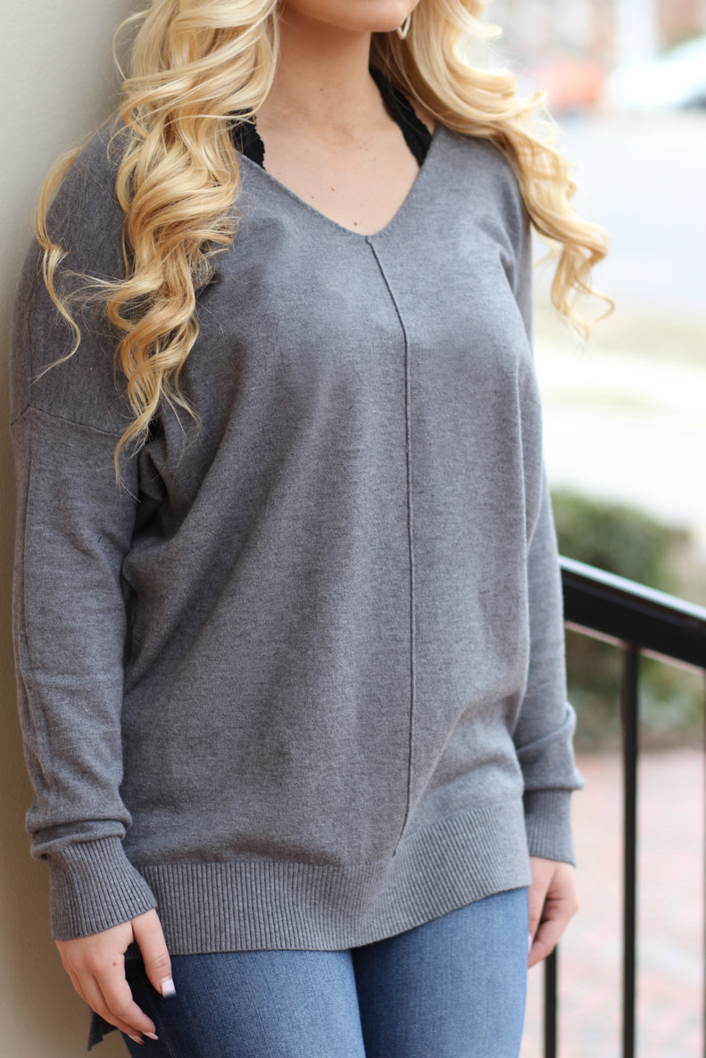 Butter Tunic Sweater: Charcoal