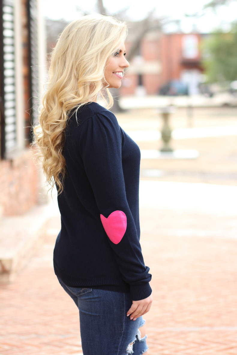 I Wear My Heart On My Sleeve Sweater: Navy