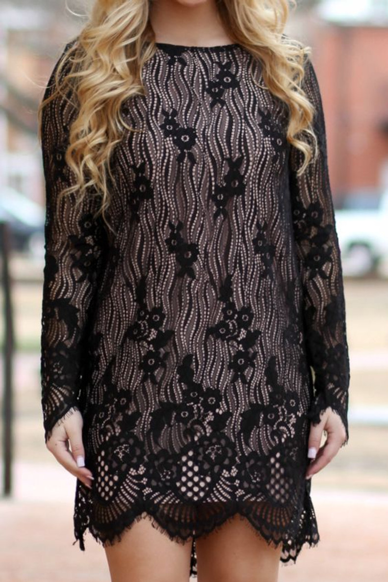 Hello Gorgeous Lace Overlay Dress: Black