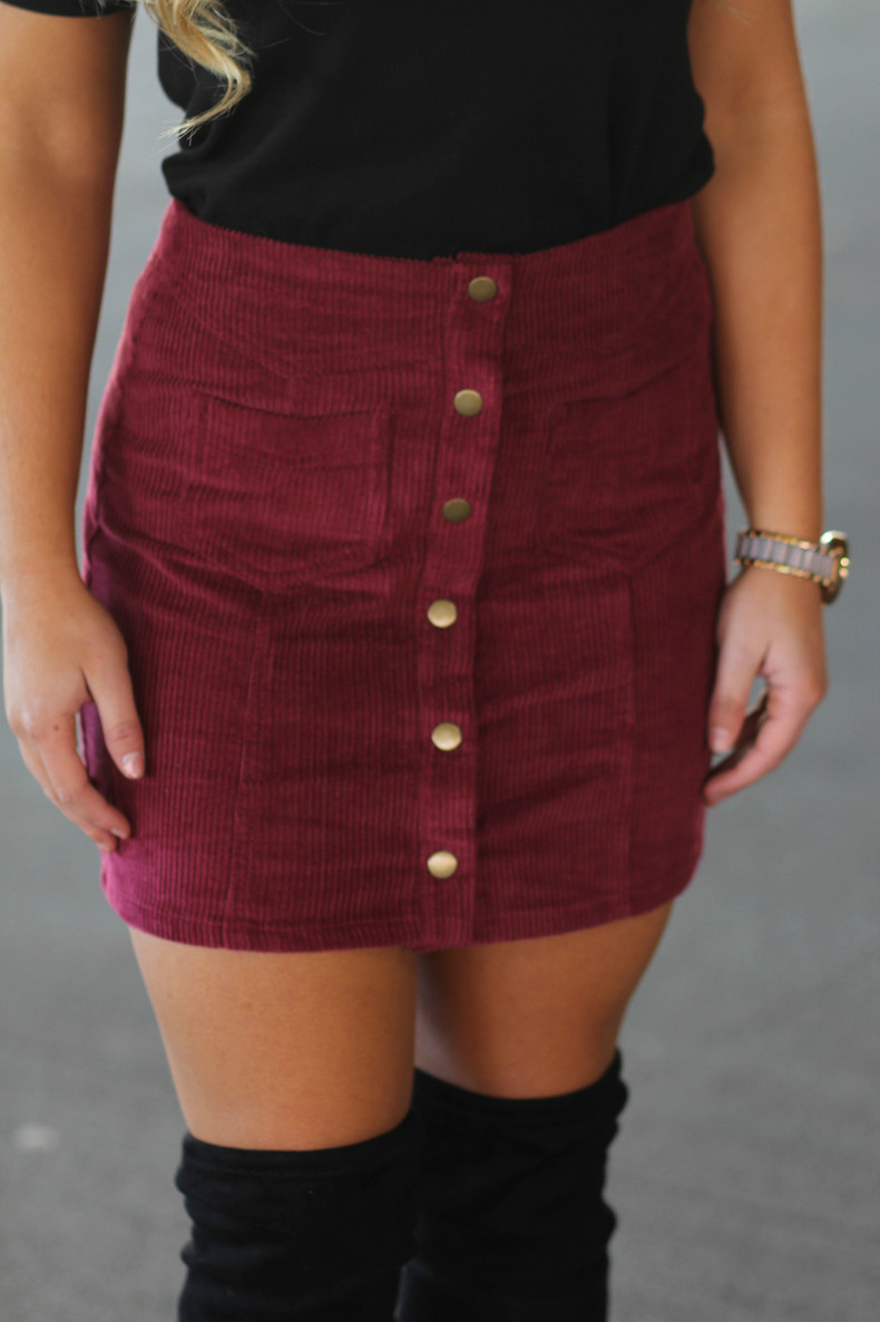 Corduroy Button Up Skirt: Wine