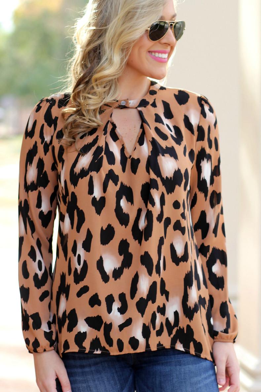 Leopard Print Top: Camel