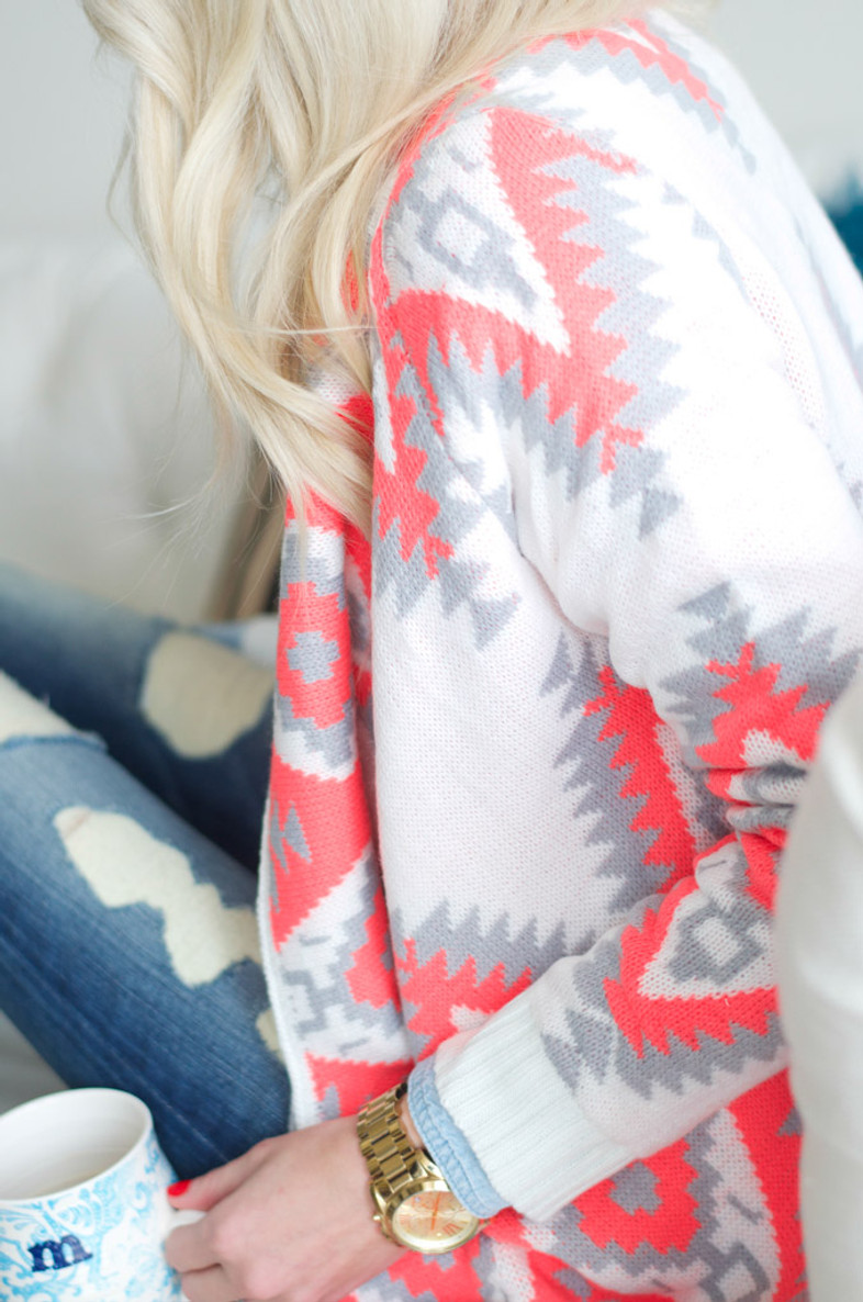Have It Your Way Cardigan: Neon Coral