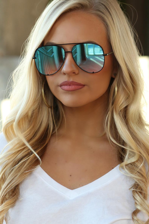 The Luna Sunglasses: Blue/Black