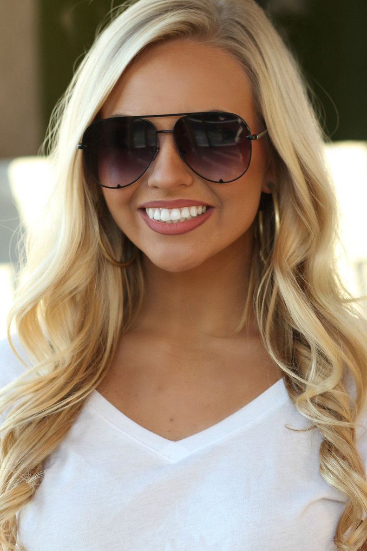 The Luna Sunglasses: Black/Gradient