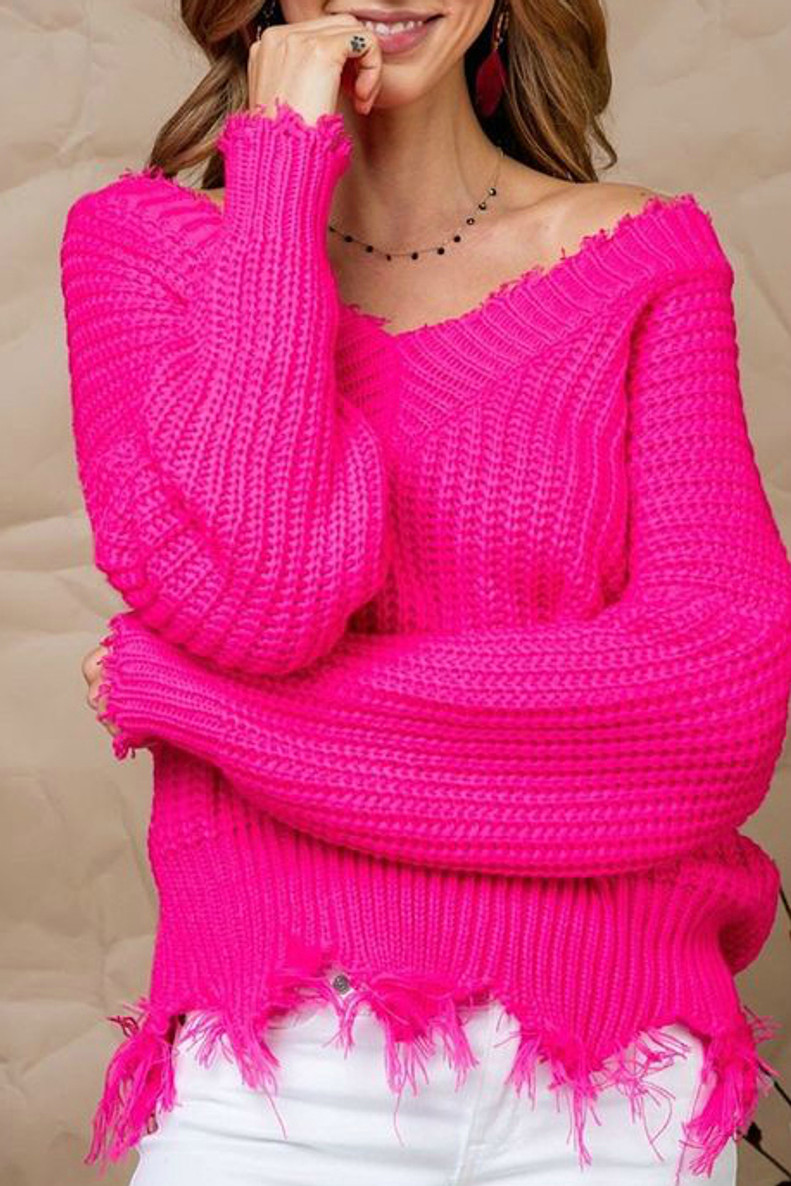 Frayed Sweater: Hot Pink
