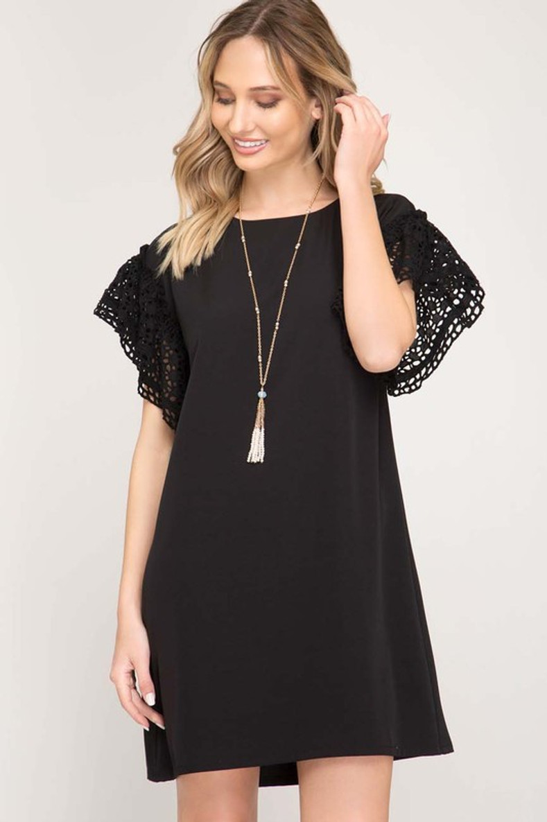 Look At Me Shift Dress: Black