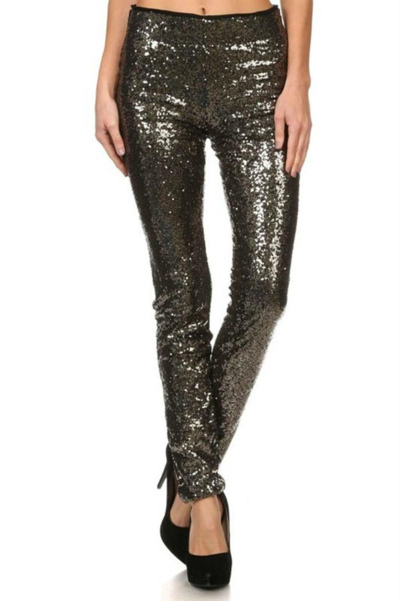 Pop The Champagne Leggings: Black/Gold