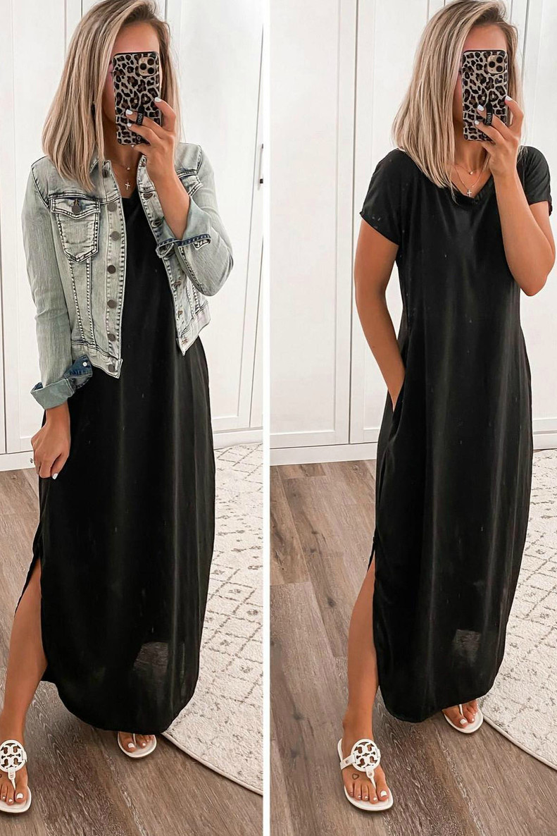 The Addison T-Shirt Maxi Dress: Black