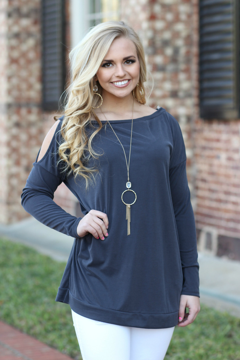 Miss Independent Top: Charcoal