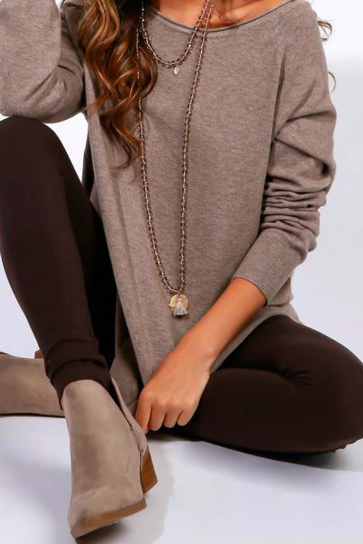 Fleece Lined Leggings: Brown