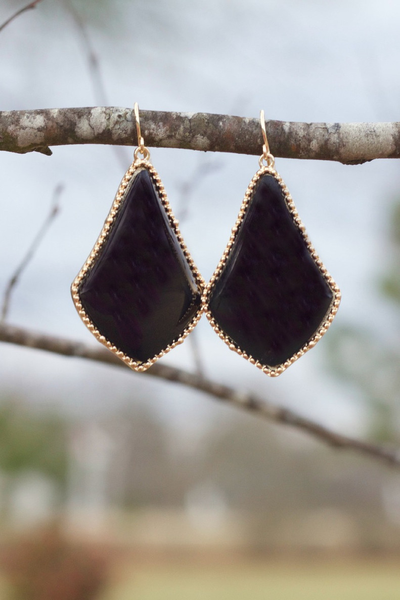 The Tinsley Drop Earrings: Black