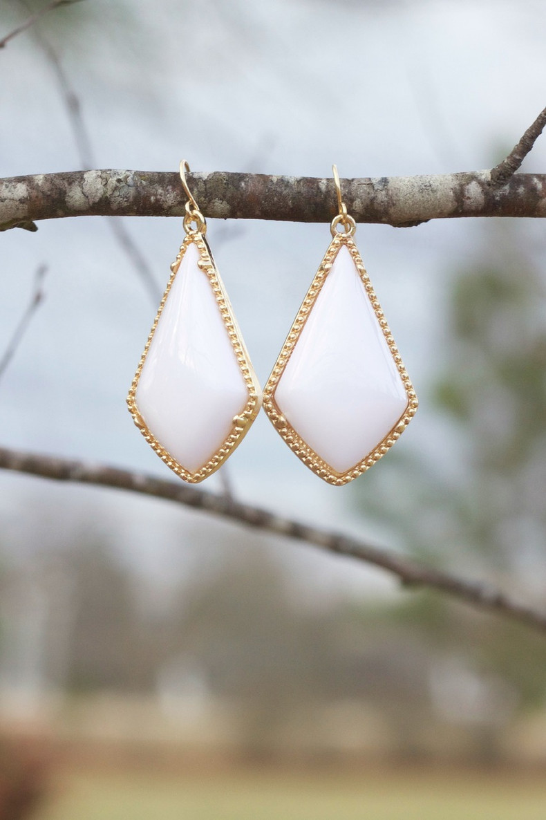 The Tinsley Drop Earrings: White