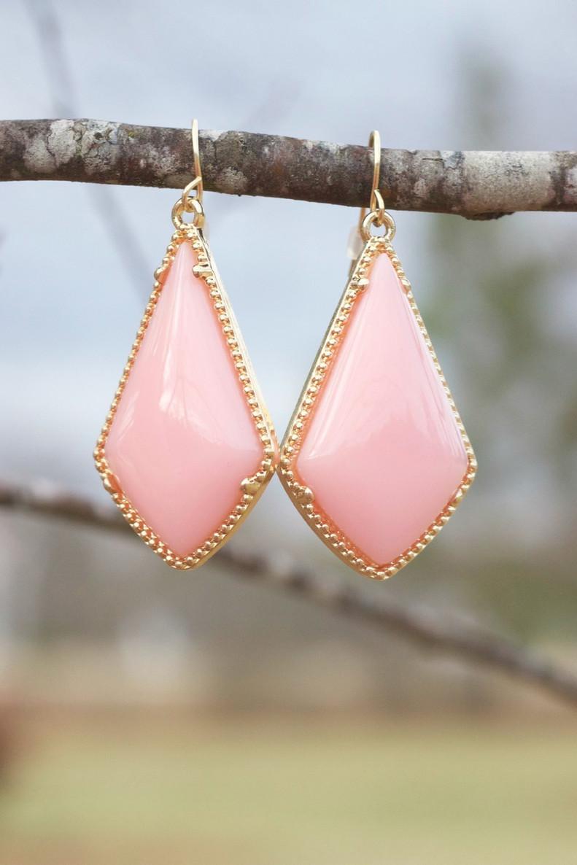 The Tinsley Drop Earrings: Peach