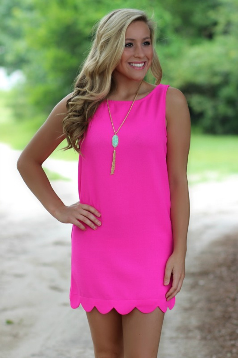 Hot Pink | Scalloped | Boutique Dress | Lavish Boutique