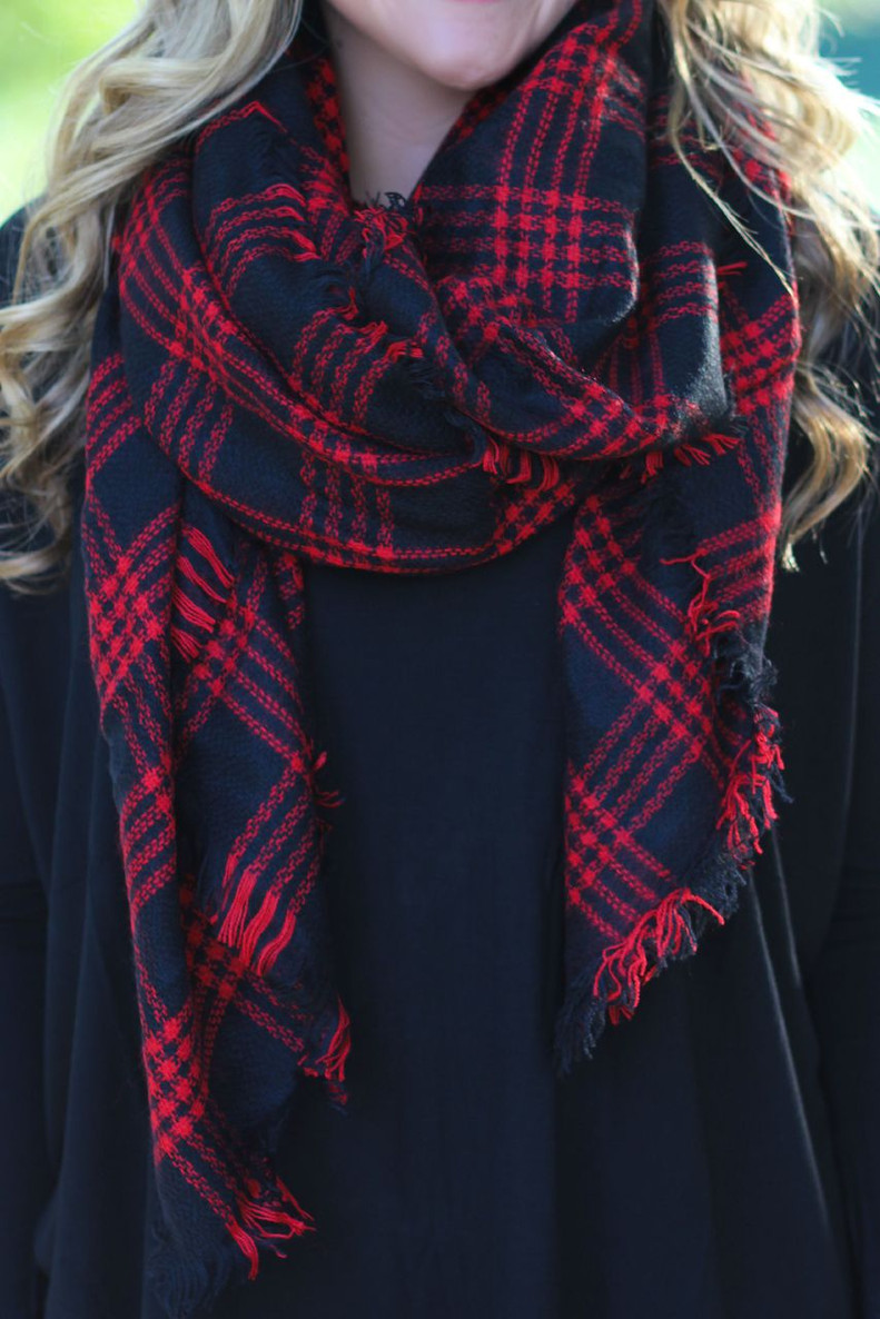 Time & Time Again Blanket Scarf: Red/Black