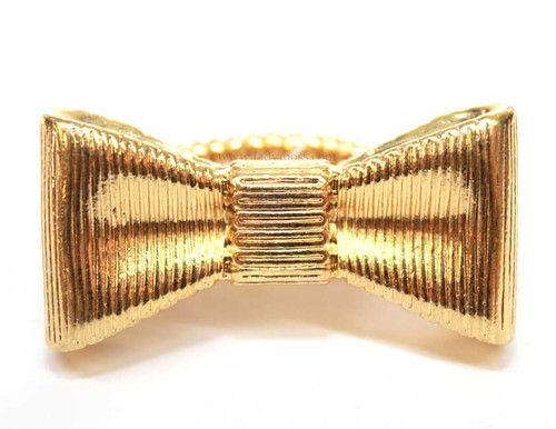 Yellow Gold Large Metal Bow Ring