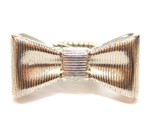Silver Large Metal Bow Ring