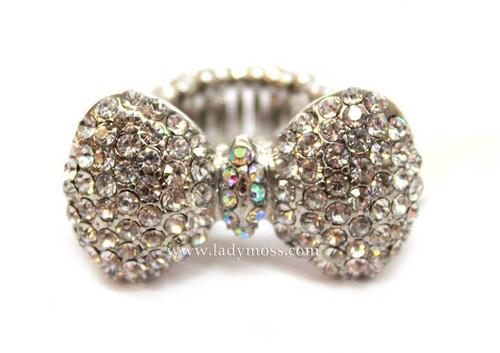 Silver Rhinestone Bow Ring