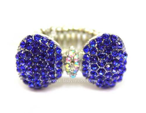Cobalt Blue Rhinestone Bow Ring