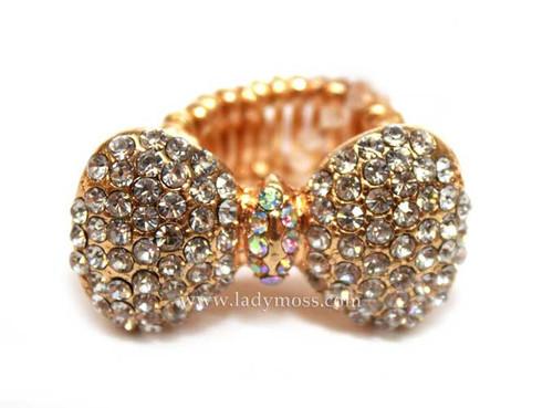 Gold Rhinestone Bow Ring