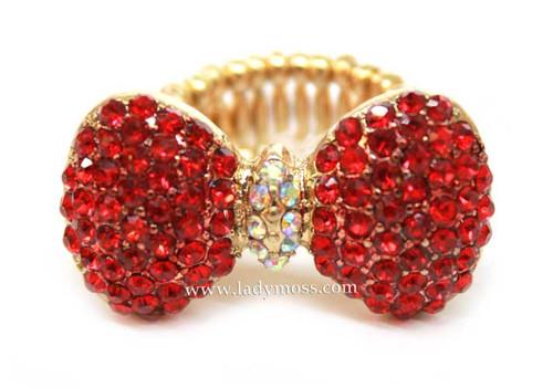 Red Rhinestone Bow Ring
