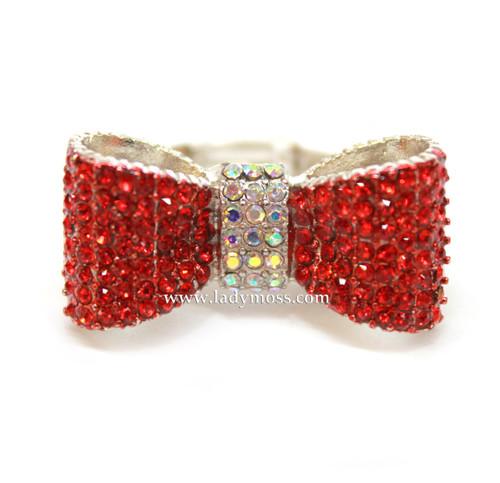 Red Rhinestone Bow Tie Ring