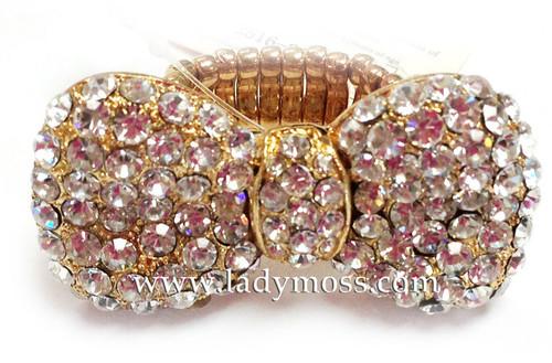 Gold Large Rhinestone Bow Ring