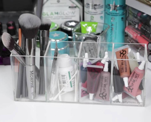 Lady Moss 4 Compartment Acrylic Brush Holder - Clear