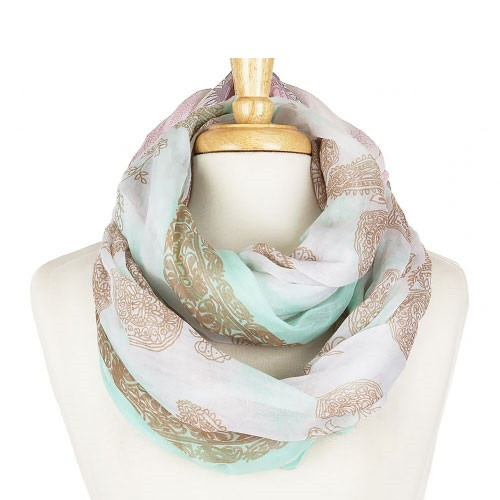 Floral Print Infinity Scarf - Mint