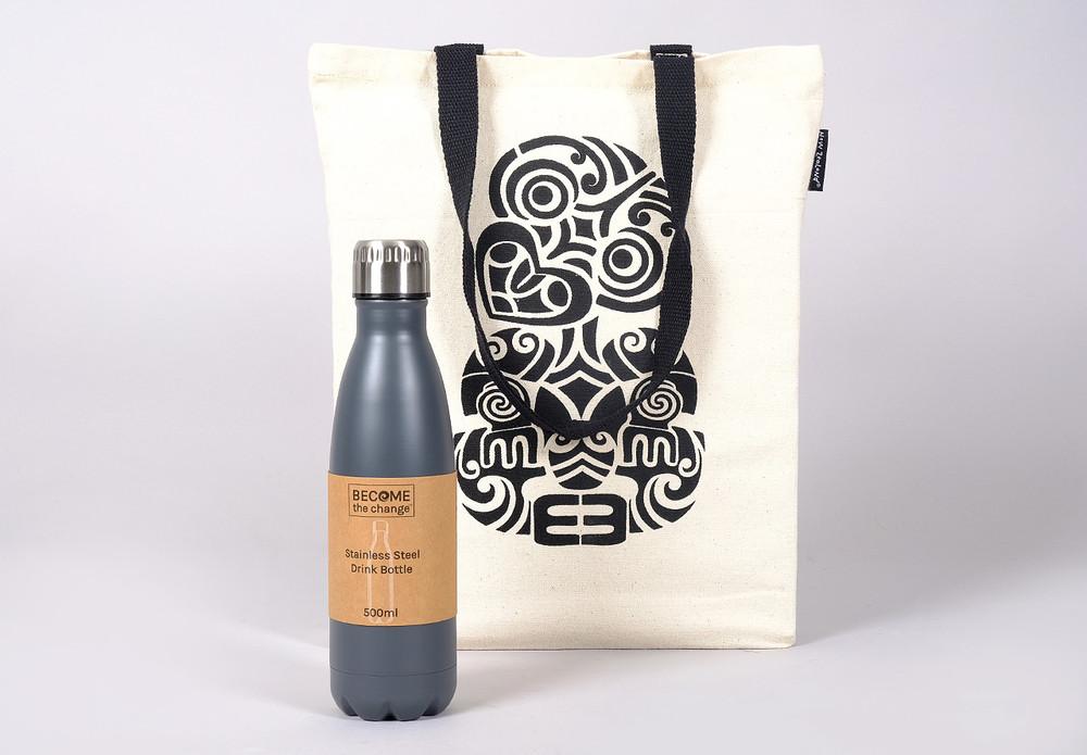 Reusable NZ Design Bag, Reusable Bottle