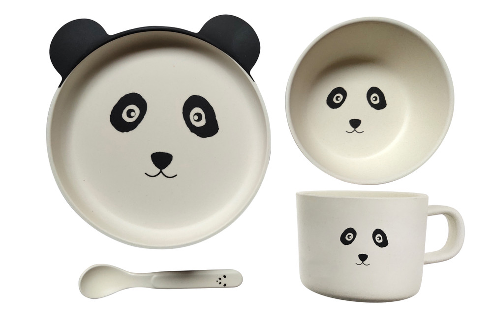 Eco Friendly Bamboo Resin Baby dinner set comes in this gorgeous Panda Bear The set comes complete with a Plate, Bowl, Cup & Spoon for your child's every need.