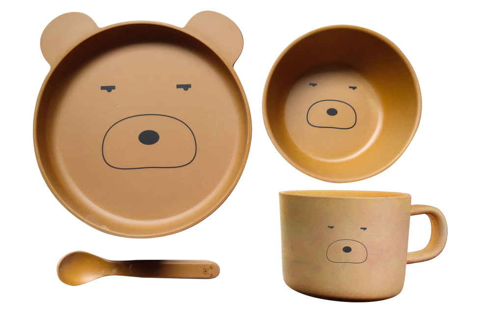 Eco Friendly Bamboo Resin Baby dinner set comes in this Fun Teddy Bear The set comes complete with a Plate, Bowl, Cup & Spoon for your child's every need.