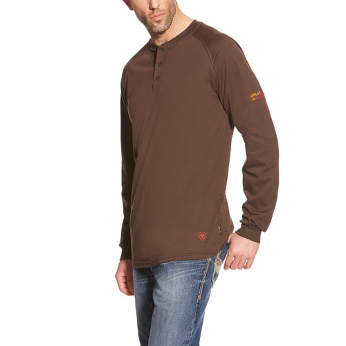 Ariat FR Henley LS T-shirt -  Coffee Bean Brown - 10013517