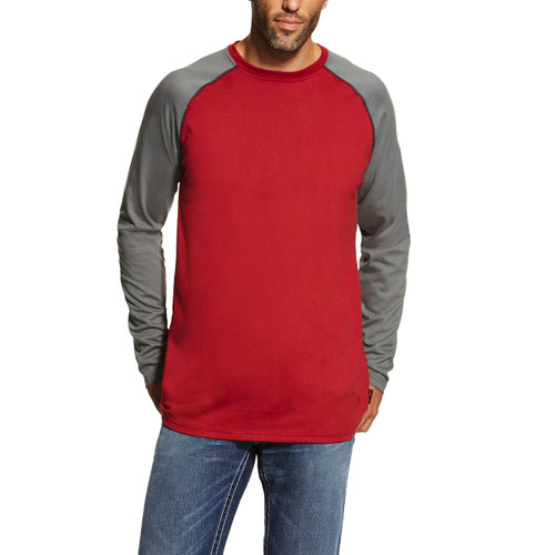 Ariat FR 10019028 Men's Baseball Tee - Red/Dark Grey
