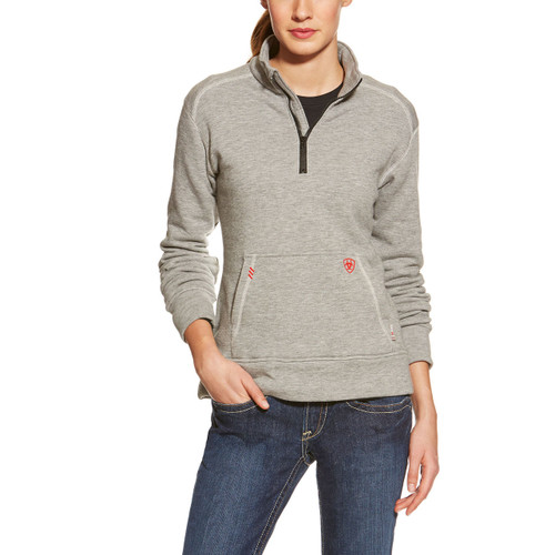 Ariat Women's FR Polartec 1/4 Zip Fleece 10015900-Heather Grey