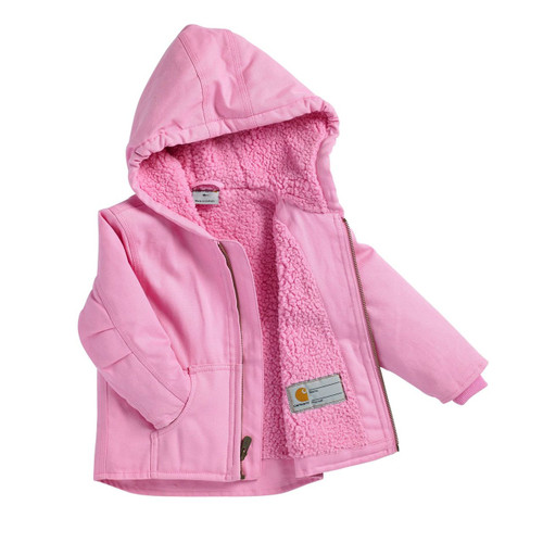 see inside to the cozy sherpa lining of this cute girls Carhartt jacket