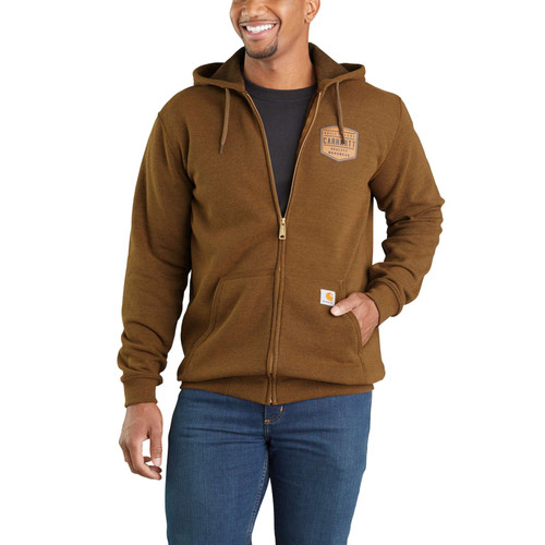 Carhartt Midweight Chest Graphic Full Zip Hoodie - front view 103868-B00 - Oiled Walnut Heather