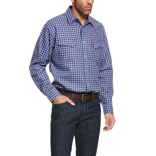 Ariat FR Derikman Classic Snap Shirt in Tahoe Blue 10027806