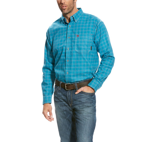 Ariat FR Kody Work Shirt - teal blue multi 10023959