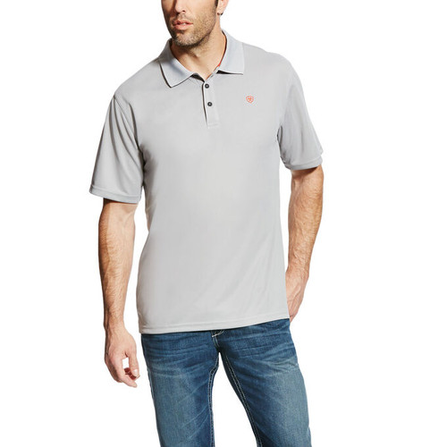 10022001 Ariat Men's Tek Polo Color: Silver Lining