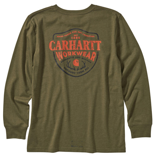 back view - Kids Carhartt LS Heather Graphic Tee CA6095-W100