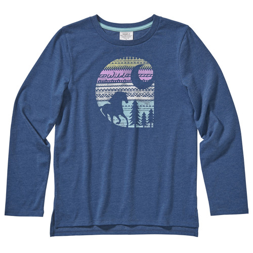 Girls Carhartt LS Heather Tee Aztec horse filled Carhartt C in Dark Denim Heather CA9778