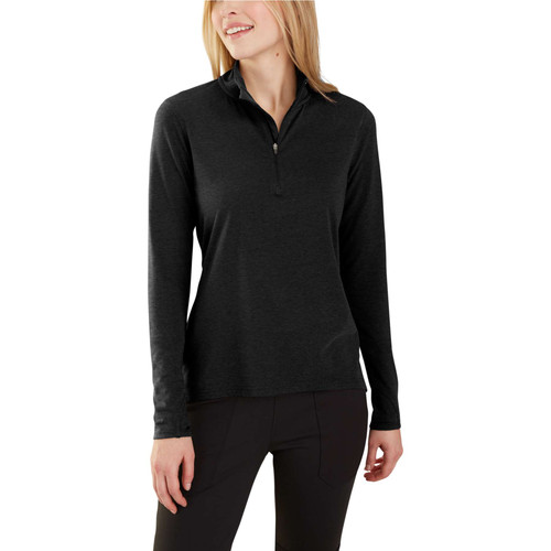 Women's Black Heather Carhartt FORCE Delmont Quart Zip 103597